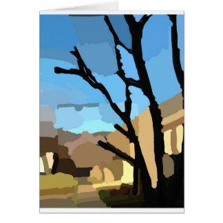 Invierno en la calle del cerezo tarjeta de felicitación
