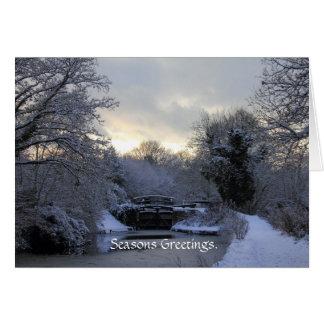 Invierno en la tarjeta del canal de Basingstoke