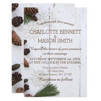 Invierno Pinecone e invitación de boda de los