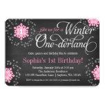 Invierno rosado Onederland de la pizarra de los Invitaciones Personales