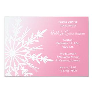 Invierno rosado y blanco Quinceañera de Snowflaken Invitación 12,7 X 17,8 Cm