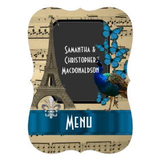 Invitación 12,7 X 17,8 Cm Romatic París y menú del boda de la hoja de música