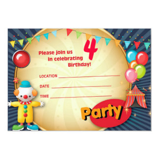 Invitación 1 del fiesta del payaso