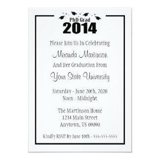 Invitación 2014 de la graduación del graduado del invitación 12,7 x 17,8 cm