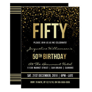 Invitación 50 O Confeti Brillante Del Oro De La Fiesta De
