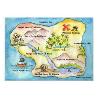 """Invitación 5"""" del fiesta del mapa del pirata x 7"""""""