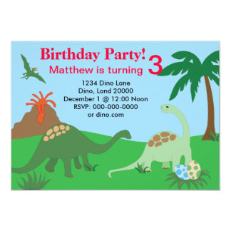 Invitación 5x7 del cumpleaños del dinosaurio