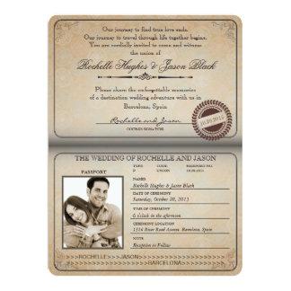 Invitación 8,75 x 6,5 del pasaporte del vintage