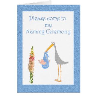 Invitación a nombrar ceremonia, la cigüeña y al tarjeta de felicitación