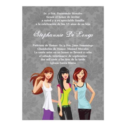 invitación adolescente del cumpleaños de Quinceane