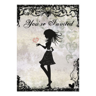 Invitación adolescente del cumpleaños del chica y