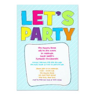 ¡Invitación adolescente del fiesta - vayamos de Invitación 12,7 X 17,8 Cm