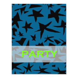 Invitación adolescente negra y azul del fiesta del