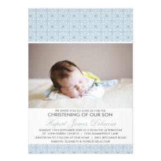 Invitación adornada azul del bautizo de la foto de