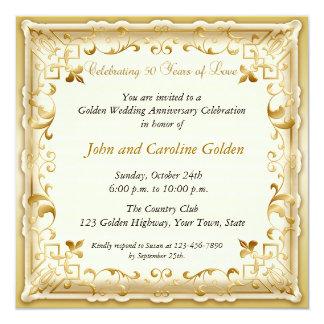Invitación adornada del aniversario del oro 50.o