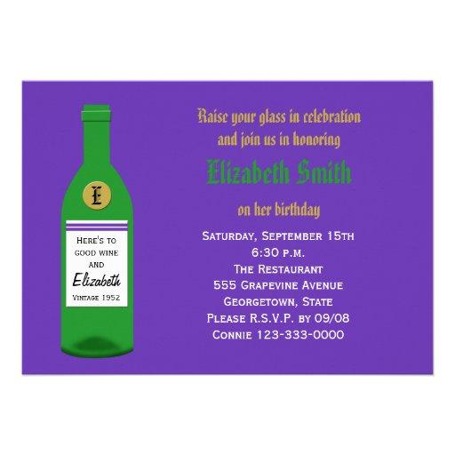 Invitación adulta de la fiesta de cumpleaños del v
