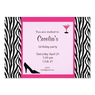 Invitación adulta del cumpleaños de la cebra (# invitación 12,7 x 17,8 cm