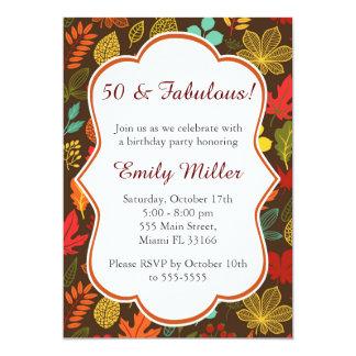 Invitación adulta del cumpleaños de las hojas de
