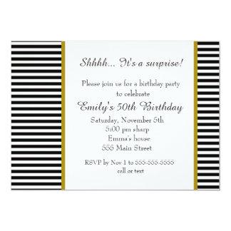 Invitación adulta del cumpleaños de las rayas