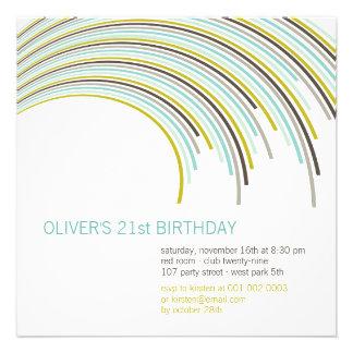 Invitación adulta del cumpleaños de las rayas del