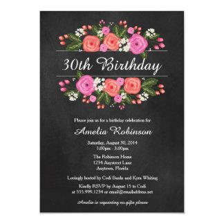 Invitación adulta del cumpleaños, estilo floral de invitación 12,7 x 17,8 cm