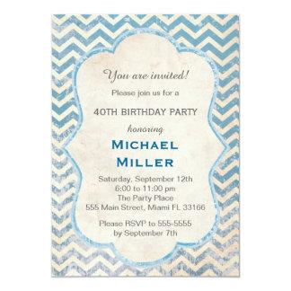 Invitación adulta rústica azul del cumpleaños de