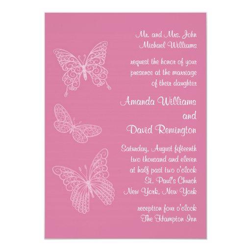 Invitación afiligranada del boda de la mariposa en invitación 12,7 x 17,8 cm
