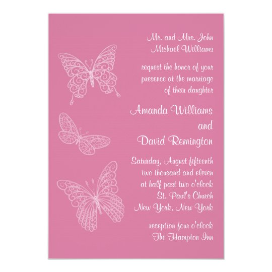 Invitación afiligranada del boda de la mariposa en