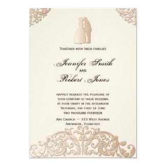Invitación afiligranada del boda del oro del