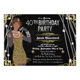 Invitación afroamericana del cumpleaños del chica