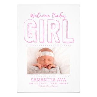 Invitación agradable del nacimiento de la niña el
