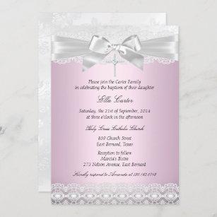 Invitación al bautismo cruzado de encaje rosa Bon