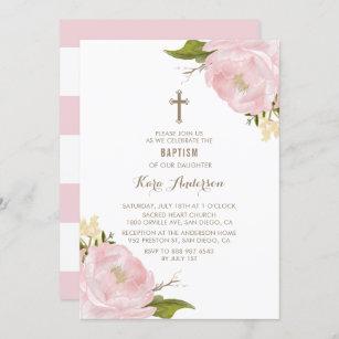 Invitación al bautismo de color de agua Rubor Pin
