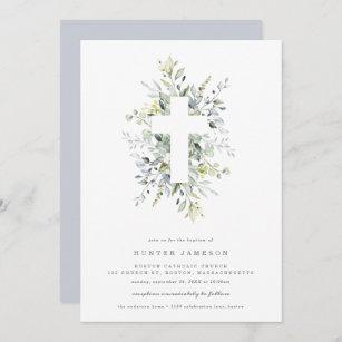 Invitación al bautismo de Dusty Blue Florals