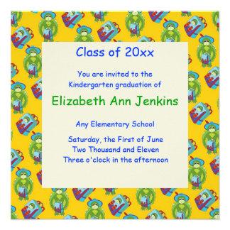 Invitación amarilla de la graduación de la tortuga