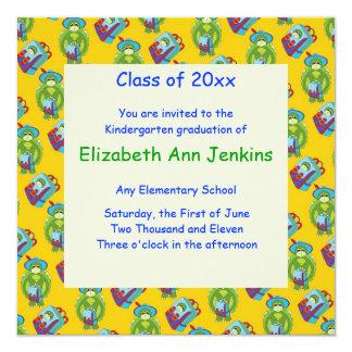 Invitación amarilla de la graduación de la tortuga invitación 13,3 cm x 13,3cm
