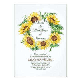 Invitación amarilla de los girasoles
