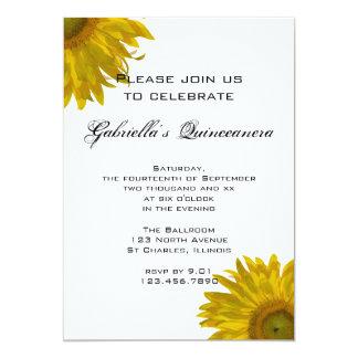 Invitación amarilla de Quinceanera del girasol