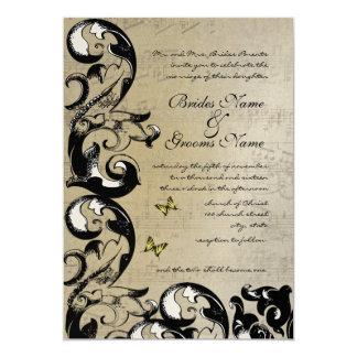 Invitación amarilla del boda del remolino de la