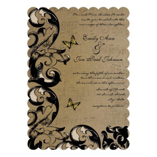 Invitación amarilla del boda del remolino de la ma