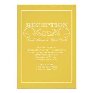 Invitación amarilla elegante de la recepción