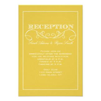 Invitación amarilla moderna de la recepción