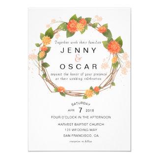 Invitación amarillo-naranja del boda de la