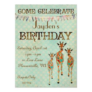 Invitación ambarina y azul del cumpleaños de las invitación 16,5 x 22,2 cm