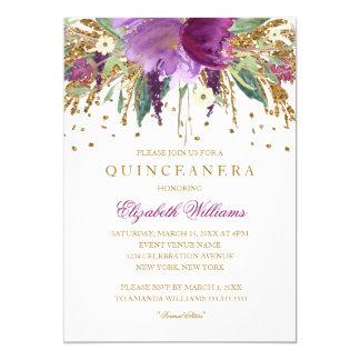 Invitación Amethyst de Quinceanera del brillo