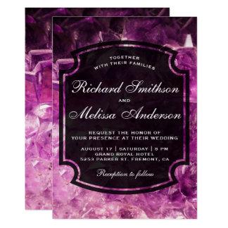 Invitación Amethyst púrpura moderna del boda de la