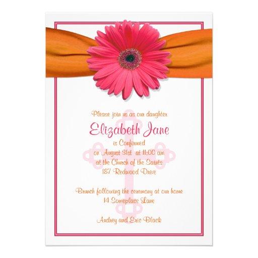 Invitación anaranjada de la confirmación de la cin