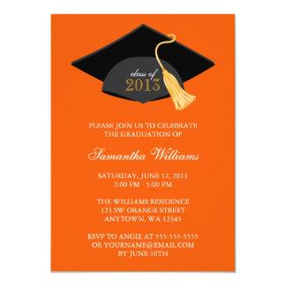 Invitación anaranjada de la graduación del