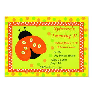 Invitación anaranjada de la mariquita y de los lun