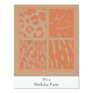 Invitación anaranjada del cumpleaños de los